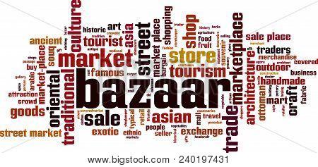 Bazaar Word Cloud Concept. Vector Illustration On White