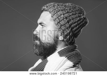 Handsome Bearded Man. Side View Of Bearded Man In Scarf And Cap. Serious Man With Beard Is Looking I