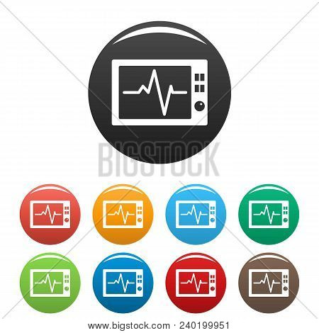 Ekg Icon. Simple Illustration Of Ekg Vector Icons Set Color Isolated On White