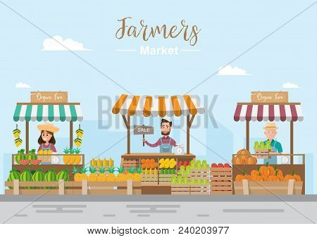 Farm Shop. Local Market. Selling Fruit And Vegetables. Business Owner Working In His Own Store. Flat