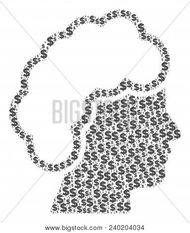 Blonde Profile Collage Of Dollars And Spheric Dots. Vector Dollar Currency Pictograms Are Grouped In