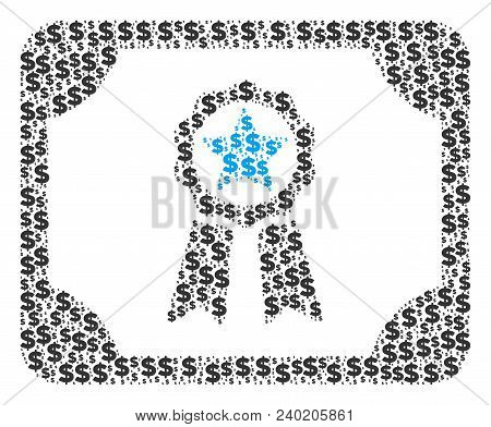 Diploma Mosaic Of Dollar Symbols And Spheric Dots. Vector Dollar Currency Icons Are Composed Into Di