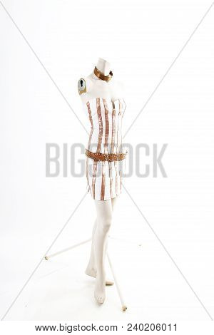 Gold White Mini Dress Cocktail Wear On Mannequin Full Body Shop Display. Woman Fashion Styles, Cloth