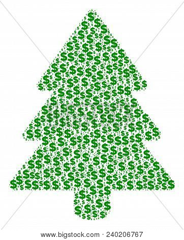 Fir-tree Composition Of Dollars And Circle Points. Vector Dollar Icons Are United Into Fir-tree Mosa