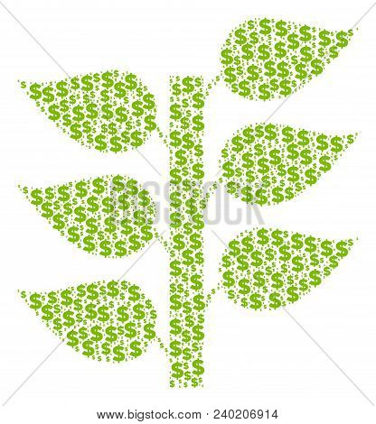 Flora Plant Collage Of Dollars And Round Spots. Vector Banking Pictograms Are Organized Into Flora P