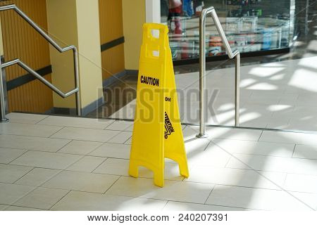 Caution Warning Sign In The Shopping Mall
