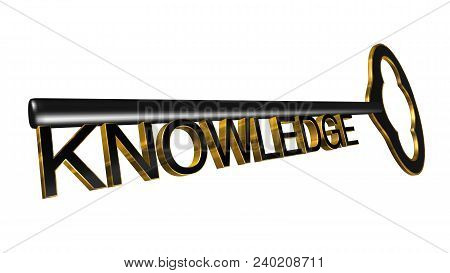 High Resolution 3d Illustration Of Key With Word Knowledge Isolated On Pure White Background. Great