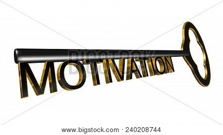 High Resolution 3d Illustration Of Key With Word Motivation Isolated On Pure White Background. Great