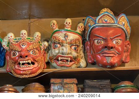 Tibetan Masks On Display At Local Market , Leh, Ladakh, India. These Masks Are Traditional Festive D