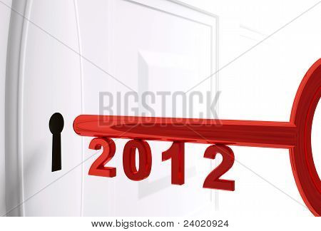 Red Key For 2012 Year 3D Render