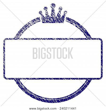 Crown Round And Rectangle Frame Grunge Textured Template. Vector Draft Element With Grainy Design An