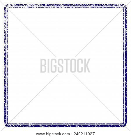 Double Rounded Square Frame Grunge Textured Template. Vector Draft Element With Grainy Design And Co