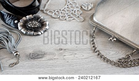 Banner Fashion Accessories For Women. Bag With A Silver Chain, Black Belt, Necklace, Leather Tassel.