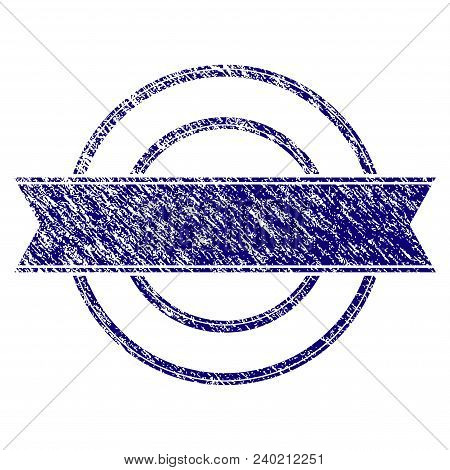 Ribbon Circle Frame Grunge Textured Template. Vector Draft Element With Grainy Design And Unclean Te