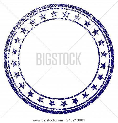 Starred Round Frame Grunge Textured Template. Vector Draft Element With Grainy Design And Corroded T