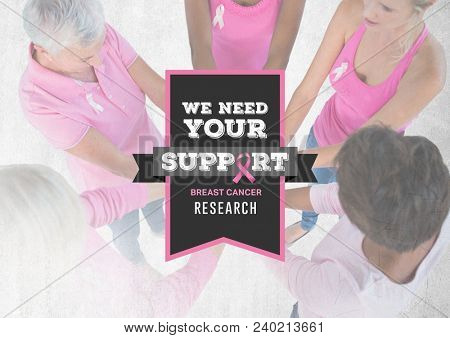 We need your support text with breast cancer awareness women putting hands together