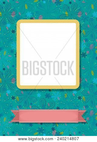Graceful Greeting Card. Geometric Floral Pattern. Yellow Frame For Custom Photo. Pink Banner For Cus