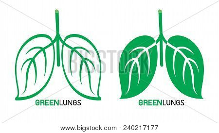 Leaves Designed Like Human Lungs, Great Lungs Concept, Vector Illustration