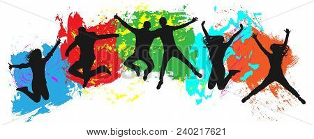 Jumping Youth On Colorful Background. Jumps Of Cheerful Young People, Friends. Joy Of The Youth Crow