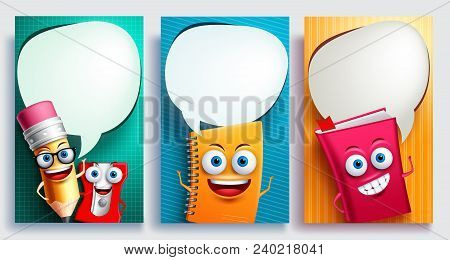 Education Characters Vector Poster Set With Empty White Speech Bubbles And Talking Or Speaking Postu