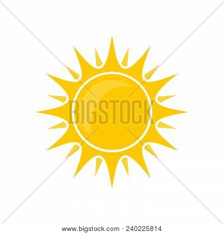 Simplicity Abstract Round Yellow Sun Bright Vector Isolated Summer Icon Design. Vector Sun Icon Vect