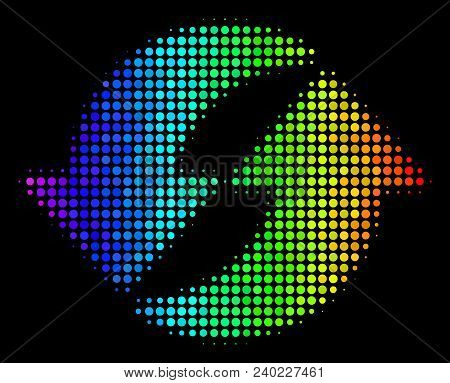 Pixelated Impressive Halftone Refresh Icon Drawn With Rainbow Color Hues With Horizontal Gradient On