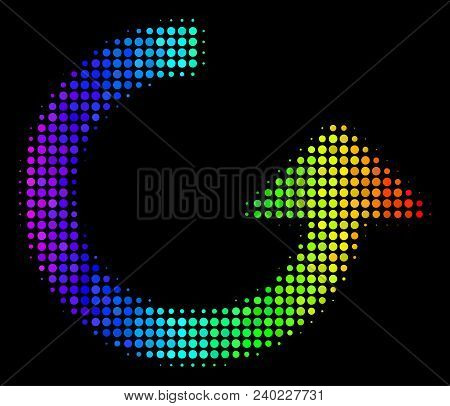 Pixelated Bright Halftone Rotate Icon Drawn With Spectrum Color Hues With Horizontal Gradient On A B