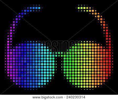 Pixelated Bright Halftone Spectacles Icon Using Spectrum Color Tints With Horizontal Gradient On A B
