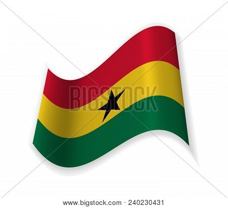 The Flag Of Ghana. Country In West Africa On The Gulf Of Guinea. Vector Illustration.