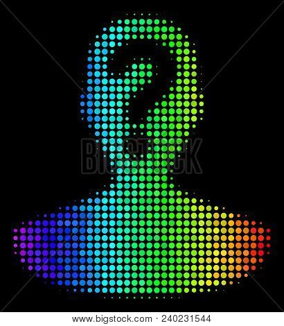Dotted Colorful Halftone Unknown Person Icon In Rainbow Color Tinges With Horizontal Gradient On A B