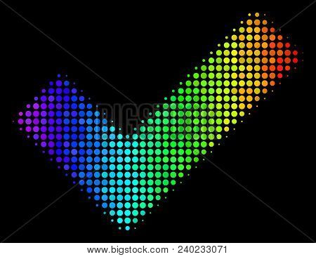 Dot Bright Halftone Yes Icon Using Rainbow Color Hues With Horizontal Gradient On A Black Background