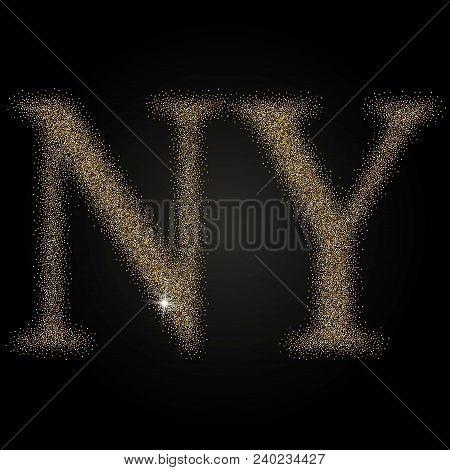 Letter N And Y Monogram Golden Logo