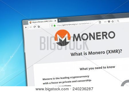 Novosibirsk, Russia - May 12, 2018 - Homepage Of Monero Cryptocurrency On Pc Display, Web Adress - G