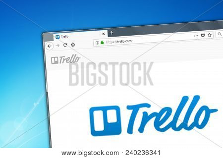 Novosibirsk, Russia - May 12, 2018 - Homepage Of Trello Website On The Display Of Pc, Url - Trello.c