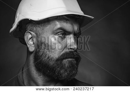 Business, Building, Industry, Technology - Builder Concept. Industrial Worker. Portrait Of Mechanica
