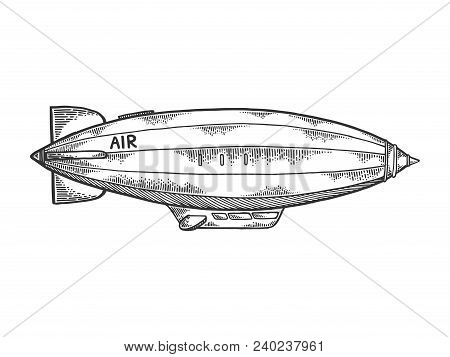 Old Vintage Airship Dirigible Engraving Vector Illustration. Scratch Board Style Imitation. Black An