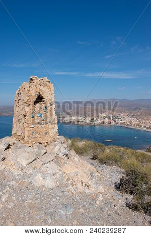 The sea in Calabardina under the blue sky, Murcia, Spain poster