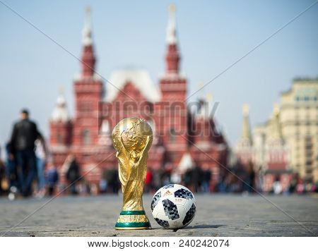 April 16, 2018 Moscow. Russia Trophy Of The Fifa World Cup And Official Ball Of Fifa World Cup 2018