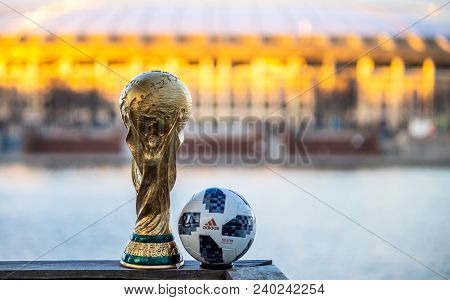April 13, 2018 Moscow, Russia Trophy Of The Fifa World Cup And Official Ball Of Fifa World Cup 2018
