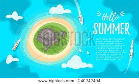 Vector Cartoon Style Background With Tropical Paradise Sea Island Shore With Rocks And The Azure Col