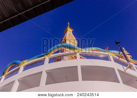 Thai Buddhist Pagoda At Doi Thepnimit Temple On Patong Hilltop. It Is The Newest Landmark For Touris