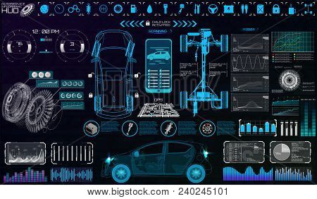 Futuristic User Interface. Car Service In The Style Of Hud. Virtual Graphical Interface Ui Hud Autos