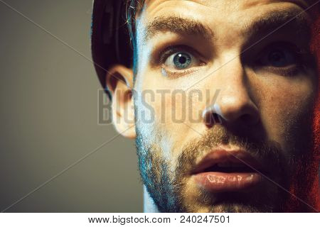 Portrait Of Mechanical Worker. Builder Working With Construction Helmet. Industrial Worker. Close Up
