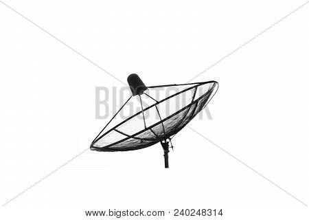 Satellite Dish Isolated On White Background. Antenna, Satellite.