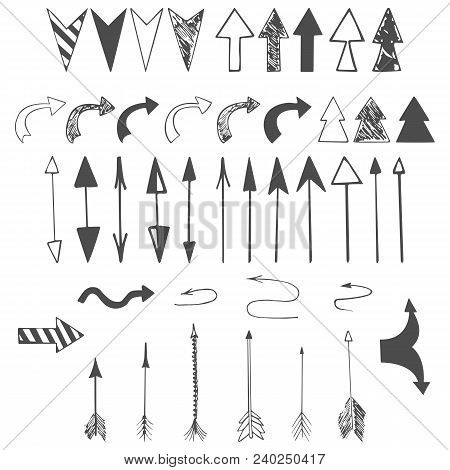 Arrows, Pointer, Dart Icons. Hand Drawn Vector Arrows Set. Arrows Of Different Shapes On White Backg