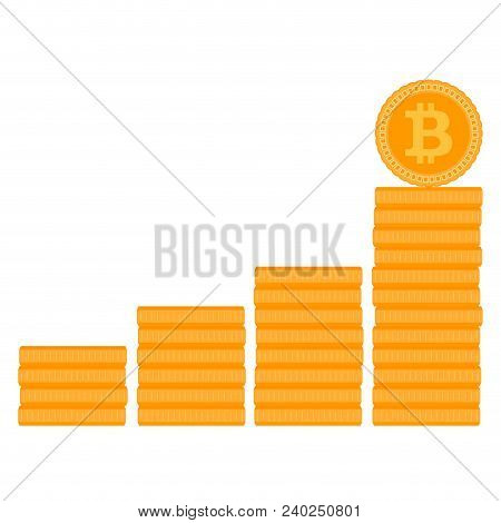 Bitcoin Stack Ladder Or Stairs. Finance Money Coin, Financial Currency Electronic. Vector Illustrati