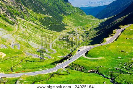 Transfagarasan Route View From Above. Gorgeous Tourist Attraction Of Carpathian Mountains In Romania