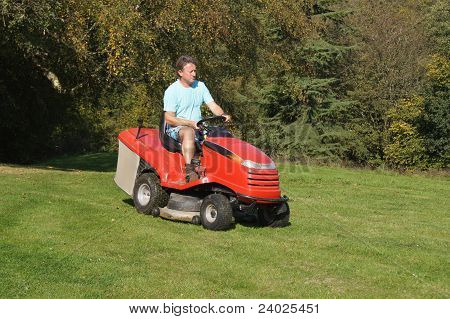 Man Cutting his Lawn