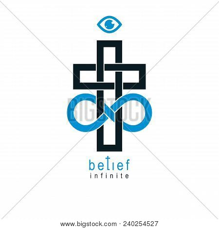 True Infinite Christian Belief in God, vector creative symbol design, combined with infinity eternal loop and Christian Cross, vector logo or sign. poster