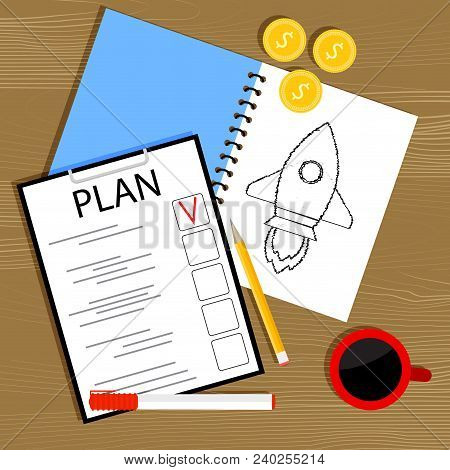 Plan And Invest In Startup. Investment In Business Idea, Plan And Management, Start Project, Plannin